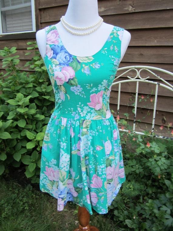 Green floral 80's garden party dress mini