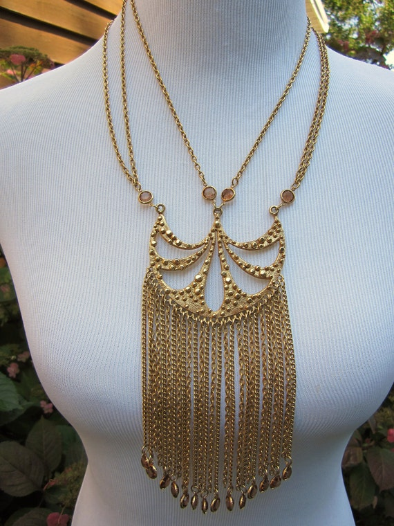 Queen of Egypt - vintage gold chain and crystal statement necklace