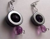 purple ring..small hematite ring with purple glass beads sensitive ears