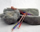 copper rainbow dangle earrings rainbow seed beads summer fashion handmade jewelry