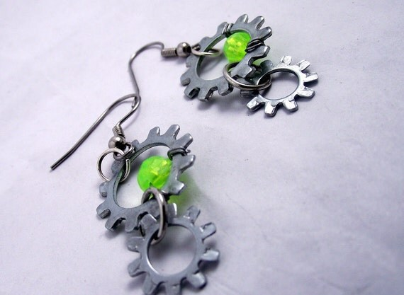 green sun,steampunk earrings, gears and dangle, very unique