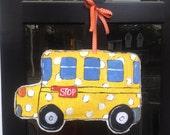 School Bus/ Back to School Burlap Door Hanger Decoration