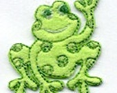 Addorable Little GREEN FROG Applique Iron On or Sew On Embroidery Patch  By Cedar Creek Patch Co