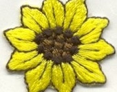 DiY SUNFLOWER Smaller ACTUAL SiZE: 1 1/4 X 1 1/4  Sun Flower Flowers Iron On Embroidery Patch Applique on ETSY
