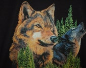 Wolf screenprinted shirt.