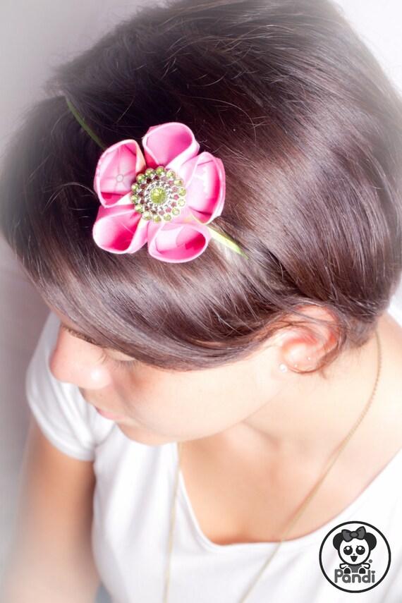 ON SALE Baby girl headband-Pink flower headband baby girl- Kanzashi inspired with Japanese Cotton Fabric-Infant headband pink