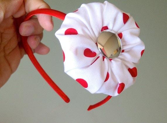 ON SALE Flower Headband, White Flower Headband, Little Girl Headband, Girl Hair Accessories, White and Red Polka Dot Flower