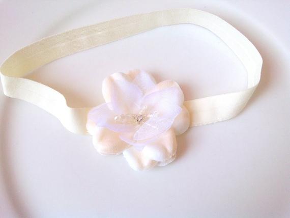 Newborn Headband - Ivory Christening Headband - Baby Girl Headband - Baptism Headband - Infant Headband - baby girl hair accessories, white