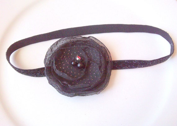 Black Flower Headband, Baby Girl Headbands, Newborn Headband, Baby Girl Hair Accessories, Headband for baby girl