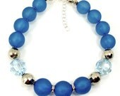 Blue  Resin and Lucite  Choker Necklace Trendy Handcrafted One of a Kind  Jewelry ( 1505)