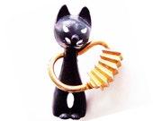 Antique  Victorian Brooch/Pin--Black Enamel Egyptian Cat