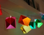 Rainbow. Origami colorful LED light garland.