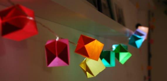 Rainbow. Origami colorful LED light garland.