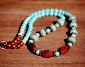 SALE: Turquoise Necklace, Red Jasper and Turquoise Necklace,Southwestern Turquoise  Necklace 21""