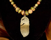 Unakite and Feather Necklace, Brass Feather Pendant Necklace, Salmon and Green Bead and Feather Necklace 18.5""