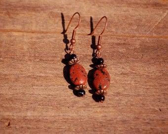 Mahogany Obsidian  Copper Dangle Earrings