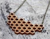honeycomb geometric necklace wood