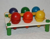 Vintage Holgate Wooden Toy colorful ice cream cones in holder 1950's