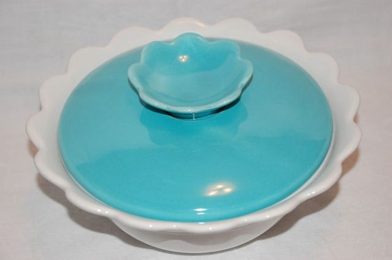 SALE California Pottery covered casserole or covered serving bowl white with teal lid scallop design midcentury