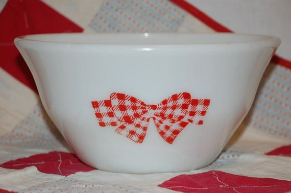 Reserved Rare McKee 9 inch red check bow mixing bowl
