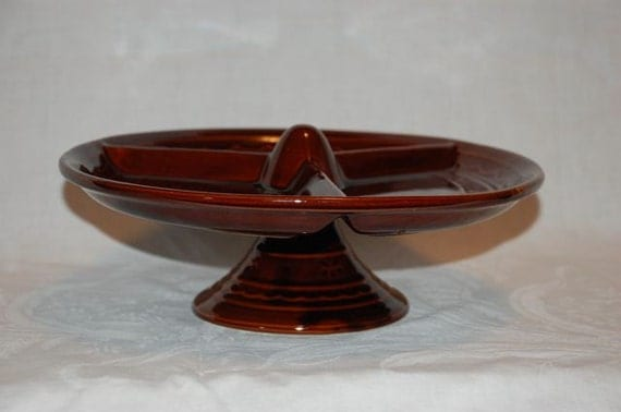 Vintage Marcrest daisy dot stoneware lazy susan with divided platter and pedestal base