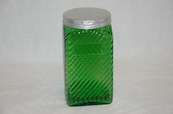 Vintage Hoosier Owens-Illinois forest green depression glass canister 5 1/4 inches