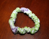 Hippie Style Green And Purple Flower Bracelet