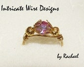Jewelry, Wire Wrapped Ring, Gold, Pinkish Purple, Women. Wire Wrapped Rings by IntricateWireDesigns on Etsy.