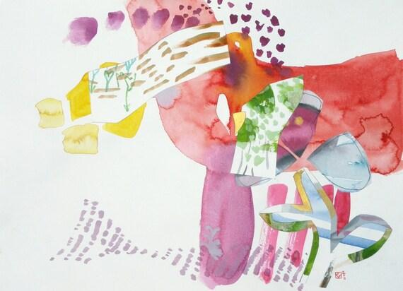 Feeding the imaginary shark (original watercolor collage)