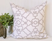 Ivory and Grey/ Beige Trellis Pillow Cover 18x18