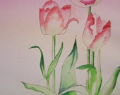 Tulips original water color painting spring time flower garden renewel of life artwork by Artist Mary Miyakawa