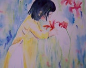 Girl and Flowers Asian Inspired Print from Original Watercolor