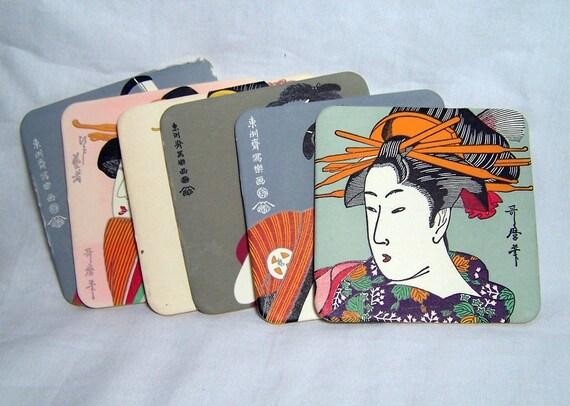 Vintage Coasters 1970s Japanese Art Prints Samurai and Geisha
