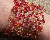 Free Domestic Shipping. Hand Knit Wire Cuff.  Party Colors.