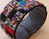 Red and Blue Static, Beaded Slap Bracelet