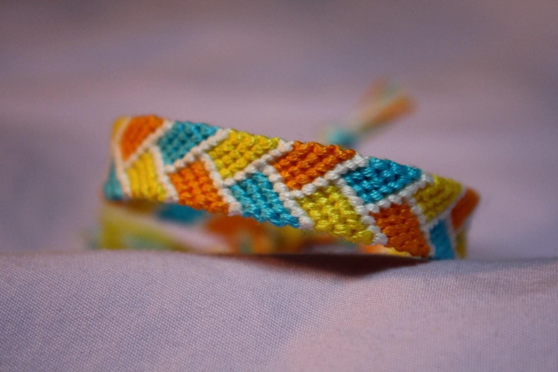 Friendship Bracelet Bordered Orange Aqua And Yellow Braid