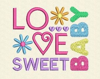 INSTANT DOWNLOAD Love Baby Sweet Digital Embroidery Design BA005