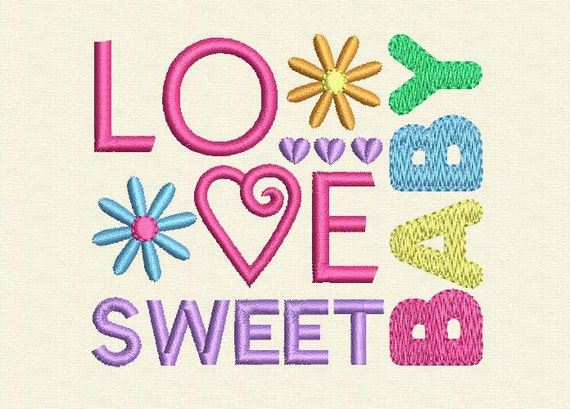 Instant Download Love Baby Sweet Digital Embroidery Design