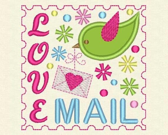INSTANT DOWNLOAD Love Mail Applique Embroidery Design Love Letter VA011