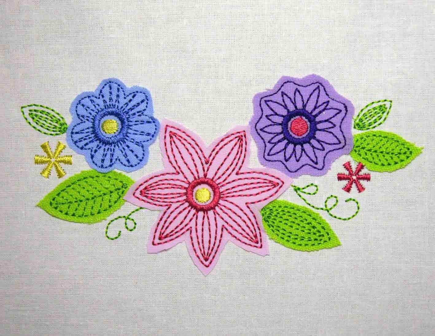 Flowers Free Edge Applique ColorWork Set Embroidery Design