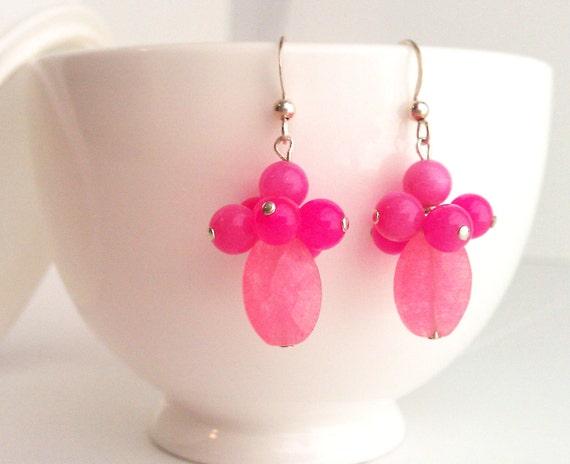 Pink Earrings. Pink Jade Earrings. Bridesmaid Earrings. Hot Pink Earrings. Fuchsia Earrings. Mothers Day. Sterling Silver.