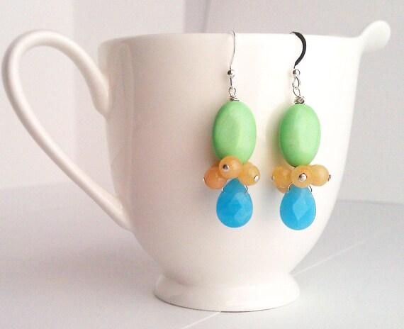 Blue Earrings. Lime Green Earrings. Turquoise Earrings. Neon. Yellow Earrings. Jade Earrings. Sterling Silver. Kluster.