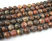 stone bead,leopardskin jasper,round 10mm,15inch