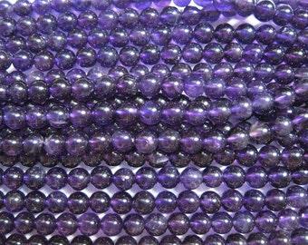 stone bead,amethyst,smooth round 6mm,15.5 inch strand
