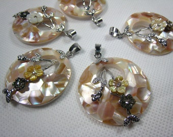 Shell pendant, shell and copper,3 pcs