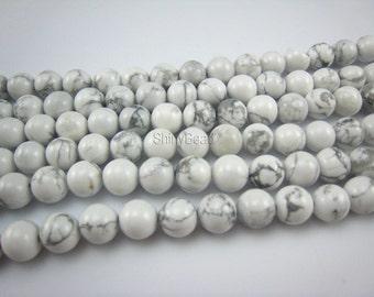 stone bead,howlite white round 10mm,15.5 inch strand