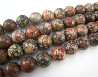 stone bead,leopardskin jasper,round 12mm,15 inch