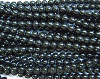 stone bead,black stone,round 4mm,15 inch