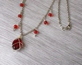 Ruby Red & Silver Chain Necklace, Wire-Wrapped, Country Chic, Boho