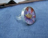 Flower Painting Cast in Resin Ring